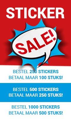 Actie stickers op rol, sale korting, Gratis verzending bij 2 rollen of meer...