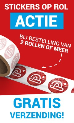 Actie stickers op rol, gratis verzending, Gratis verzending bij 2 rollen of meer...